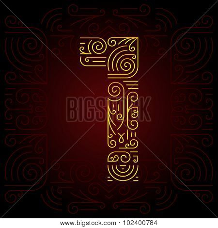 Vector Gold Mono Line style Geometric Font for Design Text. Golden Monogram Design elements for Invitation, Postcard or Advertising. Number 1
