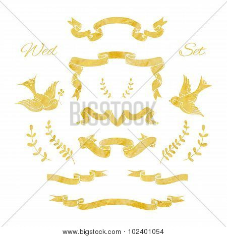 Set of gold ribbons and decorative elements with the foil texture