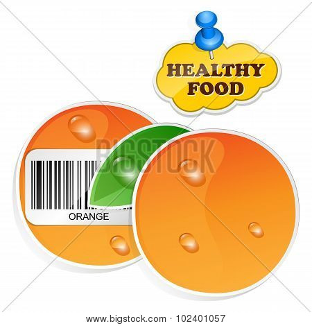 Orange Icon With Barcode And Healthy Food Sticker. Vector Illustration