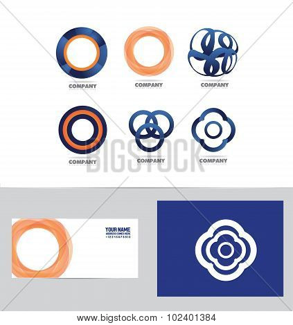 Abstract Circle Flower Logo Set