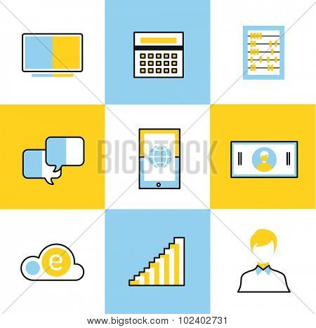 Communication vector icons set. Communication sign and communication symbols. Business icons - computer, mobile phone, calcalator, money, finance, businessman silhouette, credit card