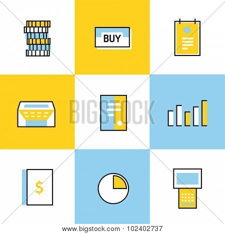 Communication vector icons set. Communication sign and communication symbols. Business icons - computer, mobile phone and calcalator, money, finance, globe earth, book, barcode, chart