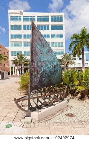 Sculpture Of Catboat In George Town Of Grand Cayman