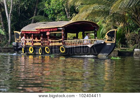 tourist boats at Kerala backwaters  in Alleppey,Kerala, India