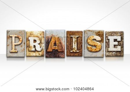 Praise Letterpress Concept Isolated On White