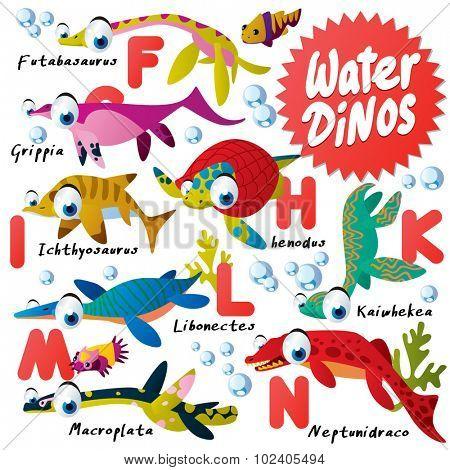 Funny Cartoon Water Dinos ABC: Futabasaurus, Grippia, henodus, Ichthyosaurus, Kaiwhekea, Libonectes, Macroplata, Neptunidraco