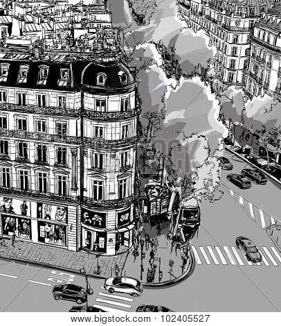 View of Tronchet street towards La Madeleine in Paris - Vector illustration