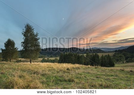 Sundown Landscape In Sudety Mountains