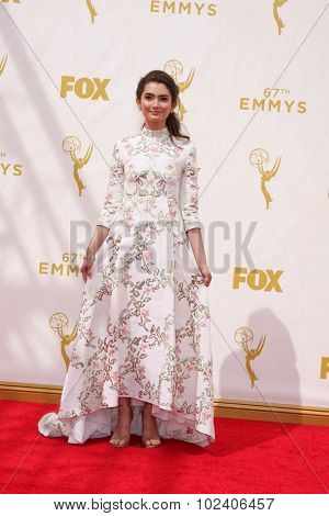 LOS ANGELES - SEP 20:  Emily Robinson at the Primetime Emmy Awards Arrivals at the Microsoft Theater on September 20, 2015 in Los Angeles, CA