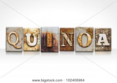 Quinoa Letterpress Concept Isolated On White