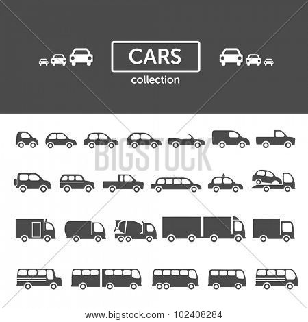 Cars icon collection - set of different car types, transportation concept