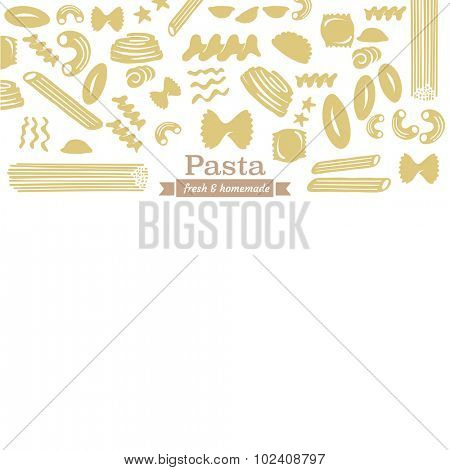 Different types of pasta seamless pattern background