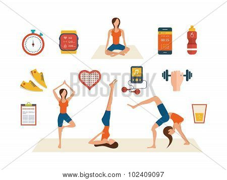 Concept of healthy lifestyle, fitness and physical activity. Yoga classes