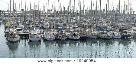 Sailboats In Port Vell