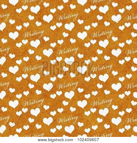 Orange And White I Love Writing Tile Pattern Repeat Background