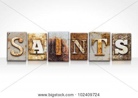 Saints Letterpress Concept Isolated On White
