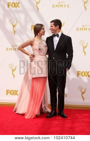 LOS ANGELES - SEP 20:  Joanna Newsom, Andy Samberg at the Primetime Emmy Awards Arrivals at the Microsoft Theater on September 20, 2015 in Los Angeles, CA