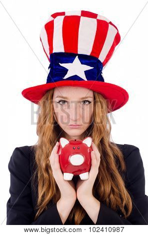 Cute girl wearing american symbol hat isolated on white