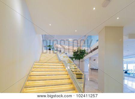 Stair case in the modern hotel interior