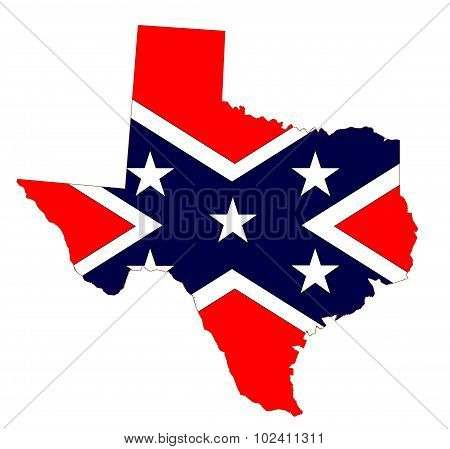 Texas Map And Confederate Flag