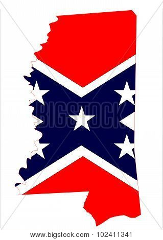 Mississippi Map And Confederate Flag