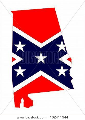 Alabama State With Confederate Flag