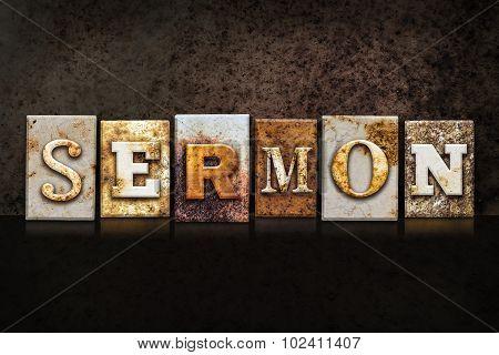 Sermon Letterpress Concept On Dark Background