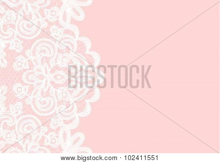 White lace border on pink background