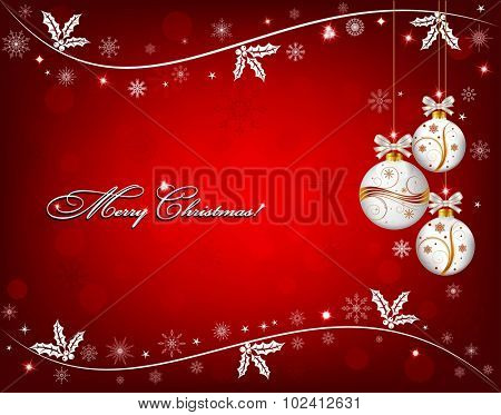 Red Christmas background with white snowflakes, holly and Christmas ornaments