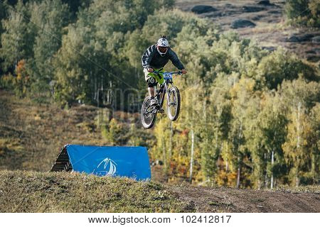 jump ski racer on the mountain bike