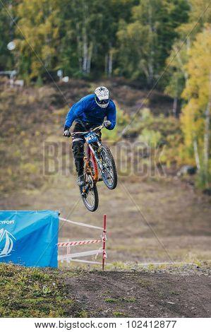 jump ski racer on the mountain bike