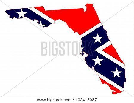 Florida Map And Confederate Flag
