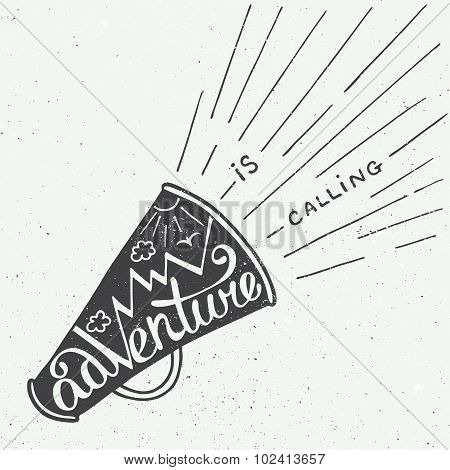 Adventure Is Calling In Mouthpiece With Mountains In Vintage Style