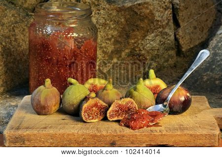 Marmalade Of Figs. Figs On A Wooden Board