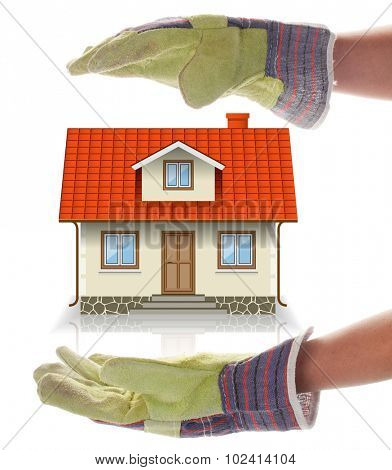 Concept of Building a House, an Abstract. Woman's Gloved Hands and Cottage Isolated on a white background.