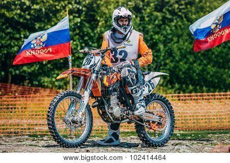 racer motocross preparing to start