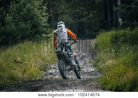 Enduro racer on the track back view
