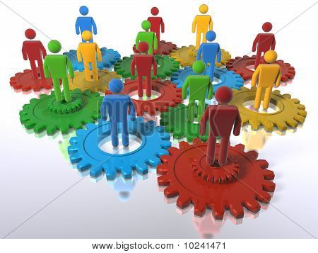 Model Of 3D Figures On Connected Cogs As A Metaphor For A Team - Emphasis On Diversity