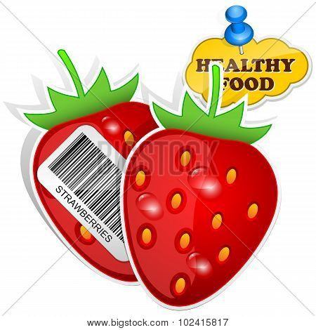 Icon Strawberries With Barcode By Healthy Food. Vector Illustration