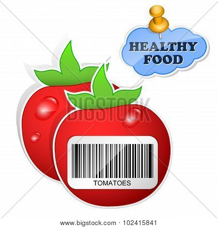 Healthy Food Icon From Paper Tomatoes Stickers. Vector Illustration