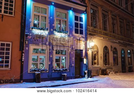 Restaurant In The Old Town Of Riga Decorated With Christmas Lights