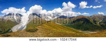 Beautiful Glacier Ladaar Landscape In Georgia.