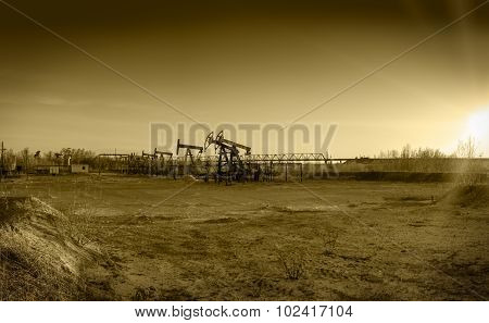 Oil Pumps On A Oil Field.