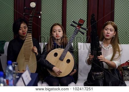 ST. PETERSBURG, RUSSIA - SEPTEMBER 14, 2015: Women's chamber orchestra