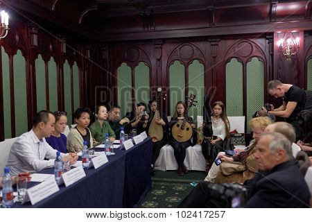 ST. PETERSBURG, RUSSIA - SEPTEMBER 14, 2015: Press cocktail of the women's chamber orchestra