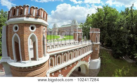 MOSCOW - JUN 06, 2015: Pedestrian bridge near Catherines Palace in Ttsaritsyno at summer day. Aerial view