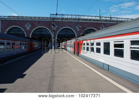 Moscow, Russia, 19 September 2015.  Train cost(stand) near by platform in expectation of passenger