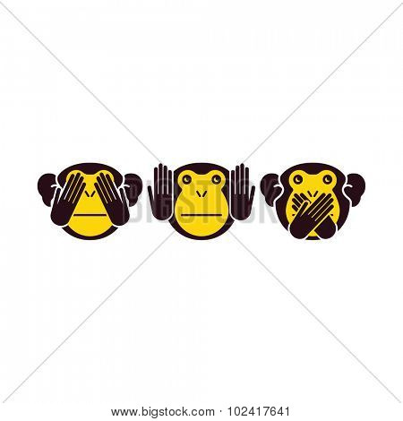 Wise monkey. Vector illustration.