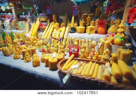 Natural Wax Candles Displayed For Sale