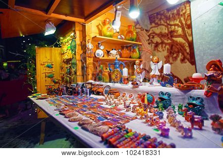 Typical Souvenir Stall Of The Traditional Christmas Market